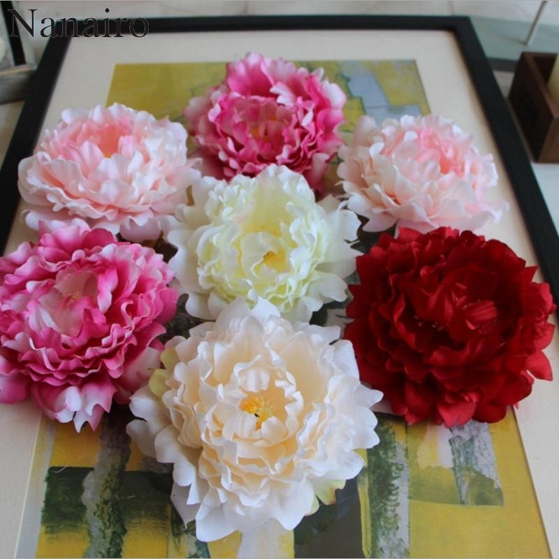 5 pieces 14cm Peony Flower Head Silk Artificial Large Flowers For Wedding Decoration DIY Decorative Wreath Fake Flowers Wall