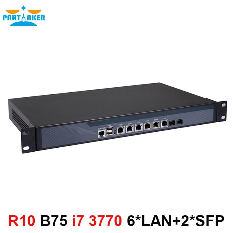Partícipe R10 Core i7 3770 pfSense firewall de hardware 1U rack de servidor de red con 6 * Intel 1000M 2 * SFP