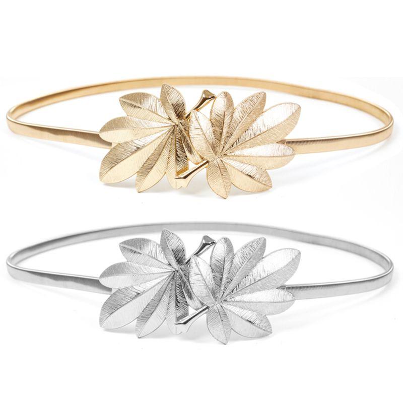 Feminino nupcial cintura magro maple leaf forma metal fivela glitter cor sólida elástico vestido cintura cinto cummerbunds ouro/prata