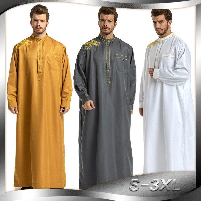 Los hombres túnicas musulmanas vestimenta islámica Dubái árabe Abaya Kaftan Eid Mubarak oración Jubba Thobe Kleding mannen para hombre Kaftan 3 colores