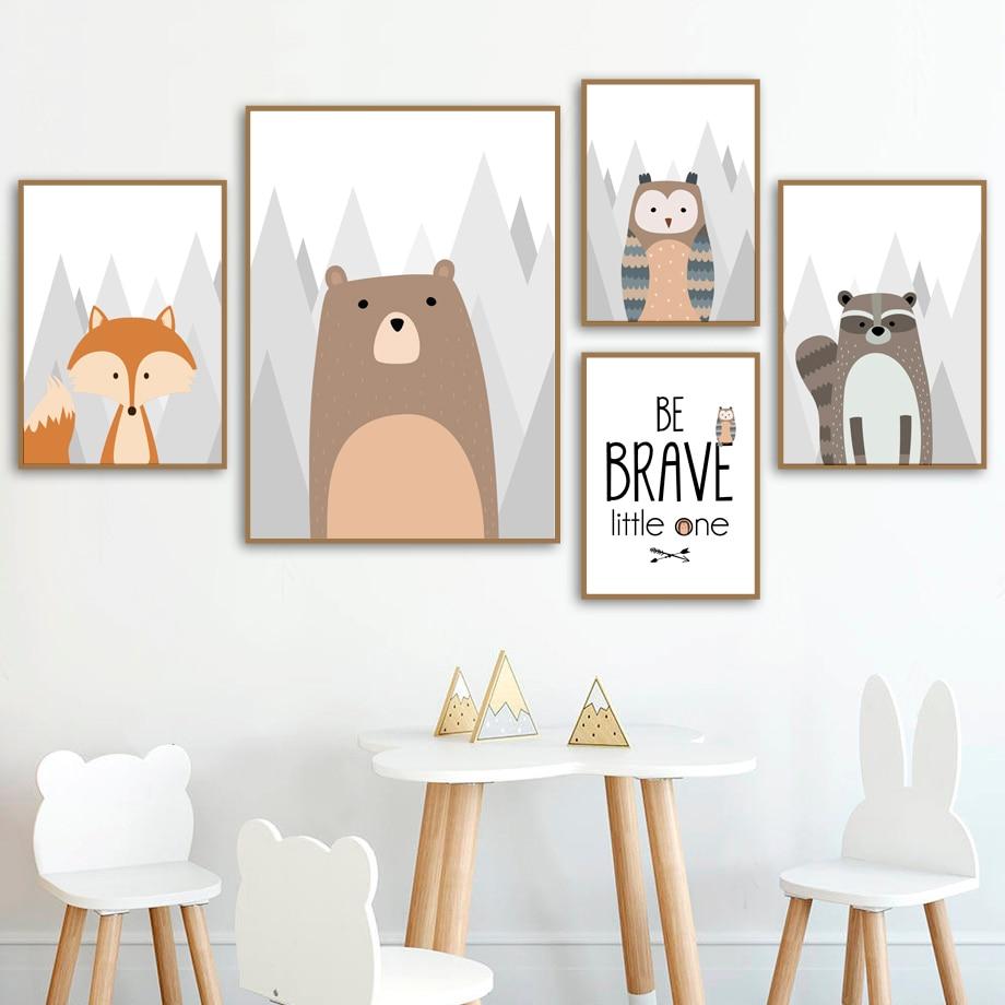 Urso coruja raposa raccoon pintura, arte de parede, pintura em tela, desenhos animados nórdico, posteres e impressões, imagens de parede, menino, menina, quarto de crianças decoração