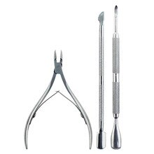 Cutter Nipper Clip Cut Set 3 Pcs Stainless Steel Nail Cuticle Pushers Spoon Nail Scissor Dead Skin R