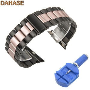 Black Rose Stainless Steel Strap for Apple Watch Band for iWatch Series 5 4 3 2 1 Metal Watchband 38mm 42mm 40mm 44mm with Tool