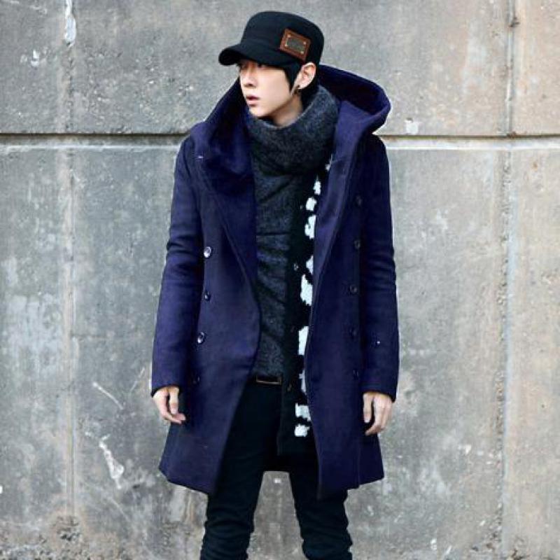 M-3XL عادي اللون مزدوجة الصدر مزيج الصوف Peacoat للرجال طويل الأكمام الخريف الشتاء الشارع الشهير الأزياء الأعمال خندق معطف