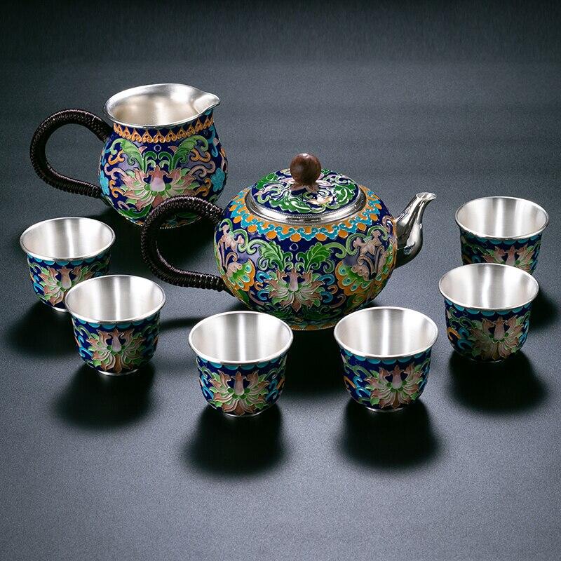 منتجات فضية 999 عالية الجودة مصنوعة يدويًا بشكل مصوغة بطريقة تذوق كوب الكونغ فو الشاي هدية للعائلة والأصدقاء مطبخ مكتب الشاي se