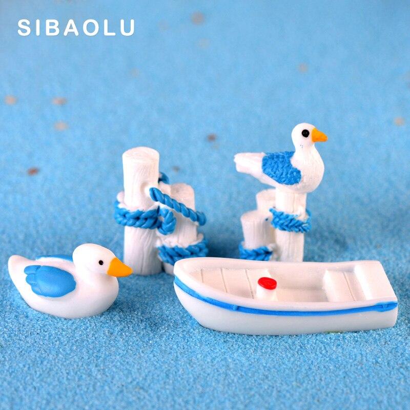 5 pçs/set seaside Barco Gaivota Toco figurine animal dos desenhos animados modelo 3D fada do jardim da casa de Artesanato Resina acessórios de decoração DIY
