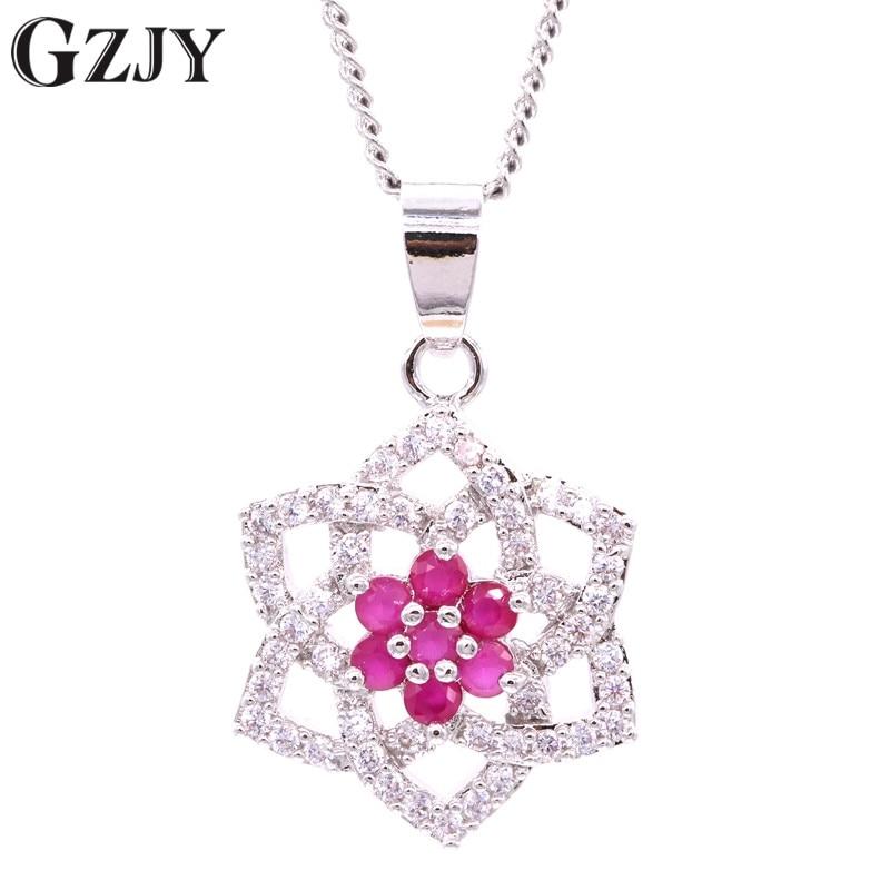 GZJY, joyería de moda, dije de péndulo, colgante de flor de Color dorado blanco con circonita cúbica roja AAA para mujer, regalo H16-2