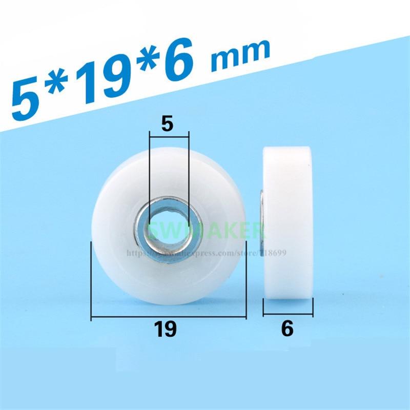 Polea de rodamiento de plástico con pompón de 10 piezas 5*19*6mm, en lugar de la rueda guía de la serie TOK DR-H japonesa, DR19 DR-19-H5