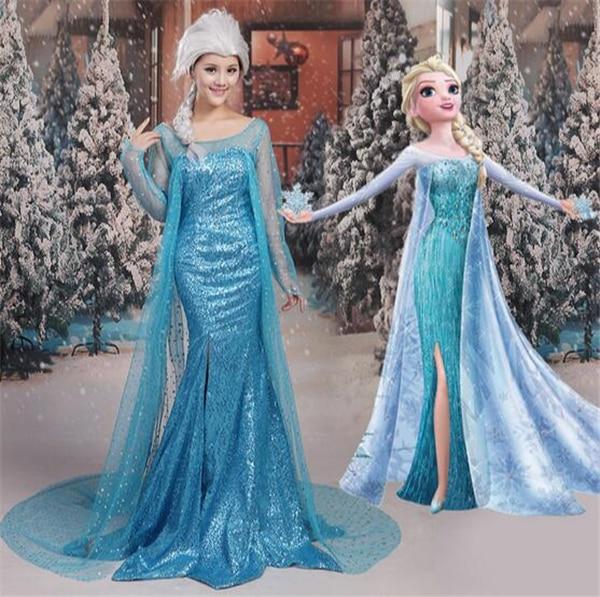 Платье принцессы Анны и Эльзы; Костюм Эльзы для взрослых; Костюм Снежной Королевы Эльзы на Хэллоуин; Женский карнавальный костюм на заказ