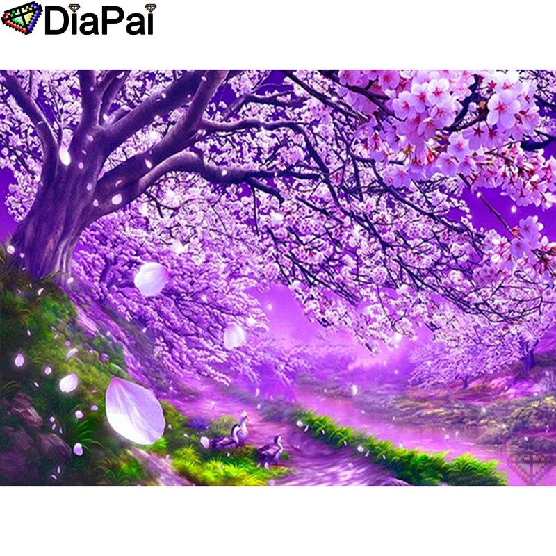 "DIAPAI 100% Full Square/Round Drill 5D DIY Diamond Painting ""Flower duck"" Diamond Embroidery Cross Stitch 3D Decor A19656"
