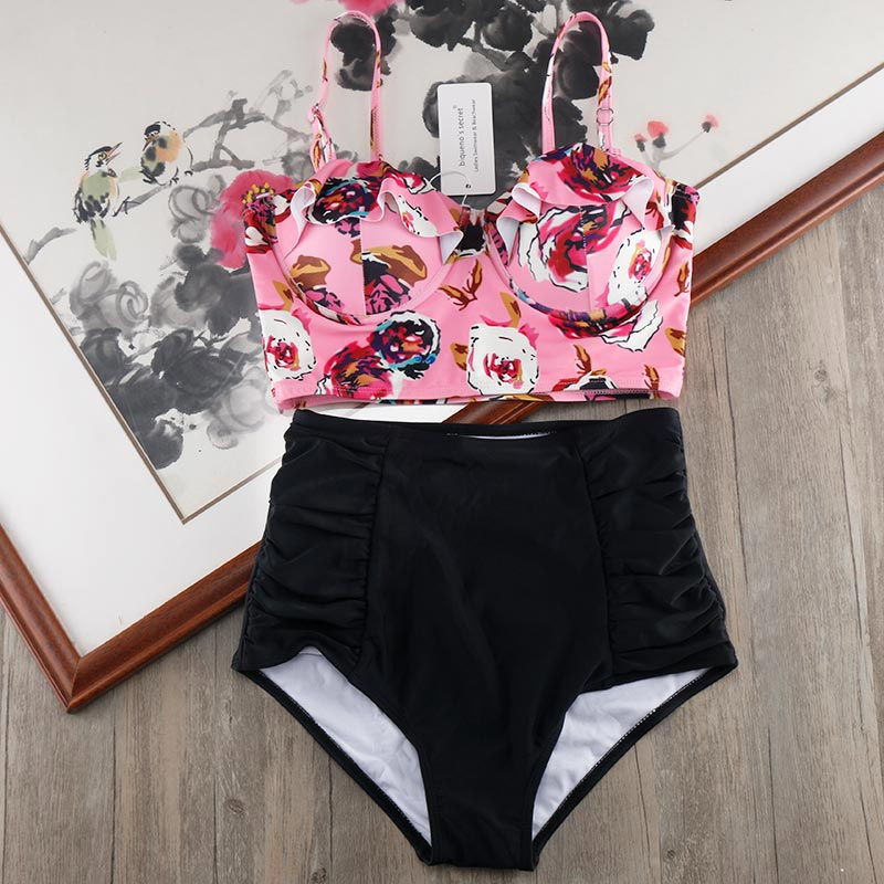 Melphieer набор бикини с высокой талией 2020 бикини размера плюс женский купальник 3XL с принтом бандажный купальный костюм бикини
