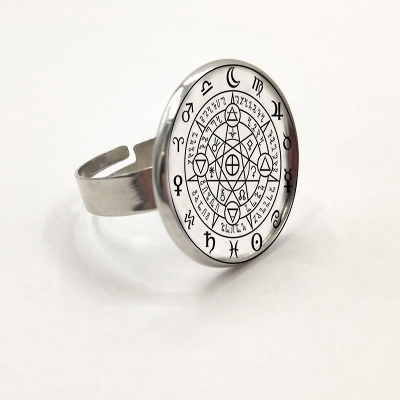 Sigil Black Magic Witchcraft Power Of Three Ring Statement Silver Ring For Women Dress Accessories