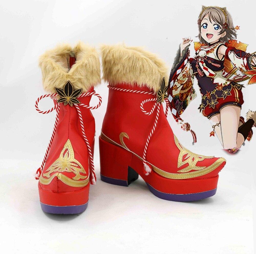 LoveLive! especial-Chika takami sakurauchi Riko Matsuura kanan Kurosawa Dia Watanabe que Cosplay zapatos botas Hojas de arce
