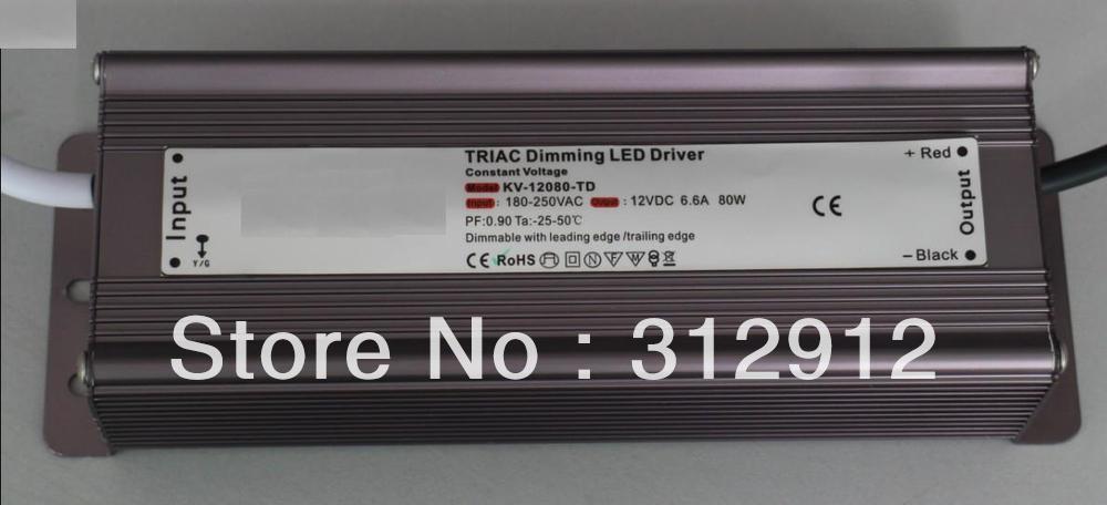 80W IP68 triac dimmable constant voltage led driver,AC90-130V/AC170-265V input,24V/80W output