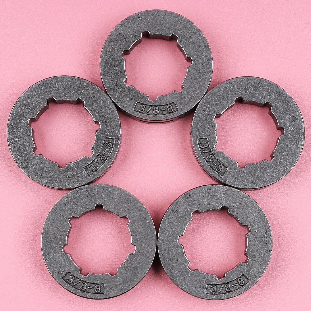 5 pçs/lote 3/8 Pitch 8 Dentes ID 22mm Estriado Padrão Aro de Roda Dentada Para Stihl 30 31 32 38 40 41 44 MS361 MS440 MS460 MS660 Motosserra