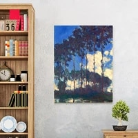 landscape framesless canvas painting masterpiece reproduction poplars on the banks of the epte c 1891 by claude monet