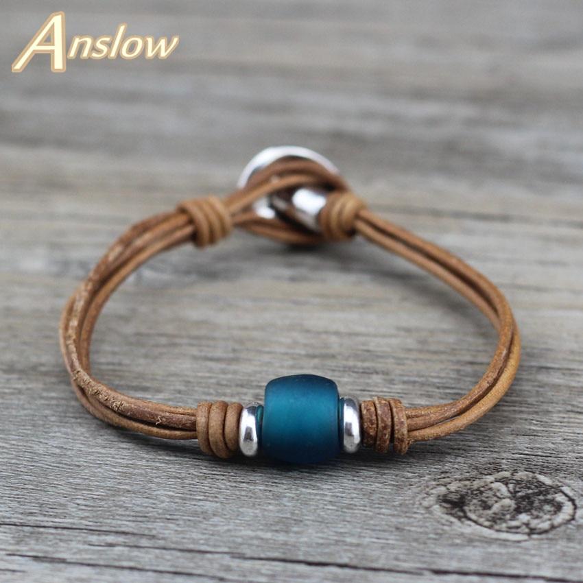 Anslow Nueva joyería de moda hecha a mano encanto envoltura Vintage Retro barato pulsera de cuero Real mejor amigo pareja Unisex hombres LOW0682LB
