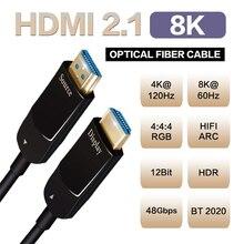 Câble optique HDMI 2020 pour moniteur 8K, 48Gbps, 2.1, UHD, 5m, 10m, 15m, 2.1