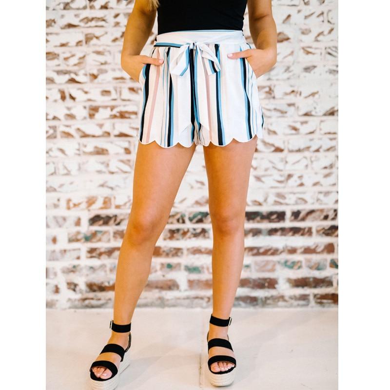 Женские Летние шифоновые шорты, голубые, белые полосатые шорты с высокой талией и широкими штанинами, пляжные купальные костюмы, плавки