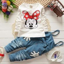 2019 kızlar bahar sonbahar moda Minnie uzun kollu takım t shirt + denim tulum pantolon bebek kız giyim bebek kız giysileri
