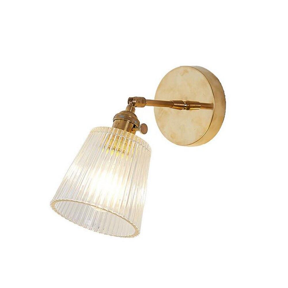 Szklana ściana lampa nowoczesny przezroczysty kinkiet oświetlenie Nordic kinkiet miedziany kinkiet jasny abażur Retro do sypialni