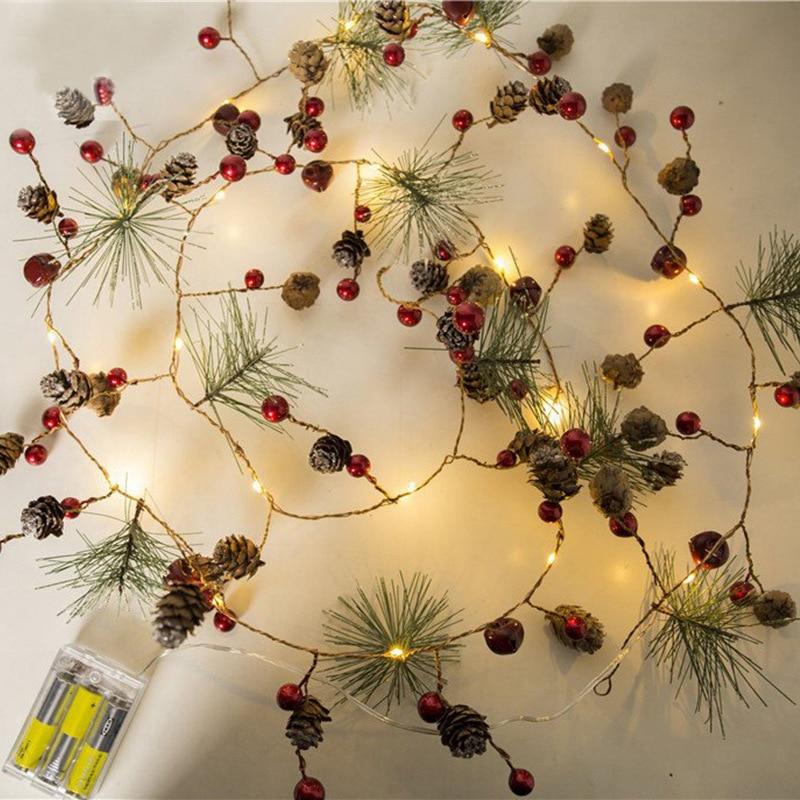 2M 20 LED Fairy Retro Christmas String Lights Pine Cone Bell Cedar Star Garland Light AA Battery Powered Garden Tree Decor Lamp