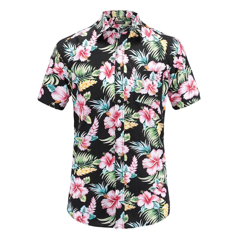 Plus Size 5XL 2019 New Summer Mens Short Sleeve Hawaiian Shirts Cotton Casual Floral Shirts Wave Regular Mens Clothing Fashion