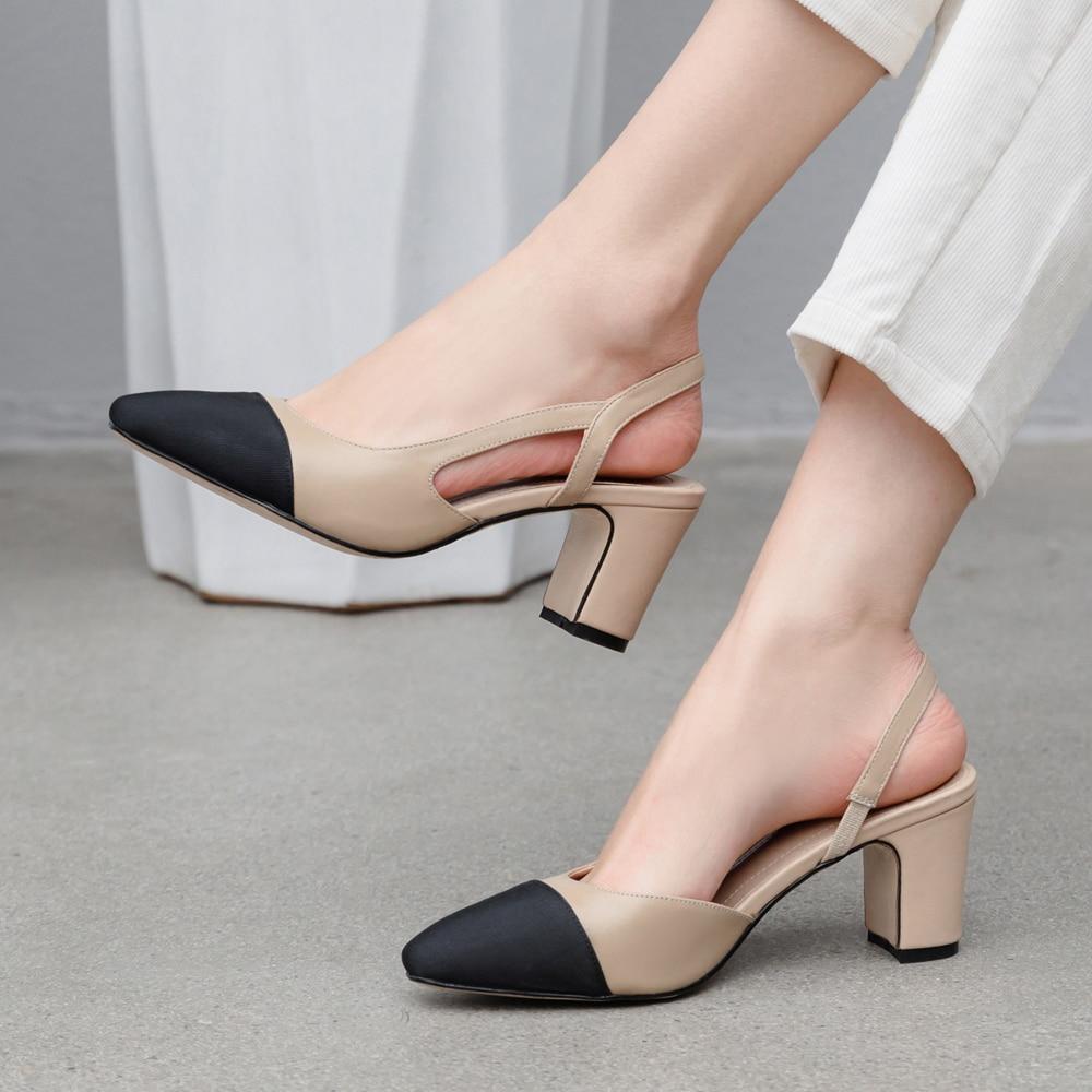 Meotina Frauen Pumps Schuhe High Heels Natürliche Echte Leder Starke Absatz Schuhe Kuh Leder Mischfarben Pumpen Damen 40