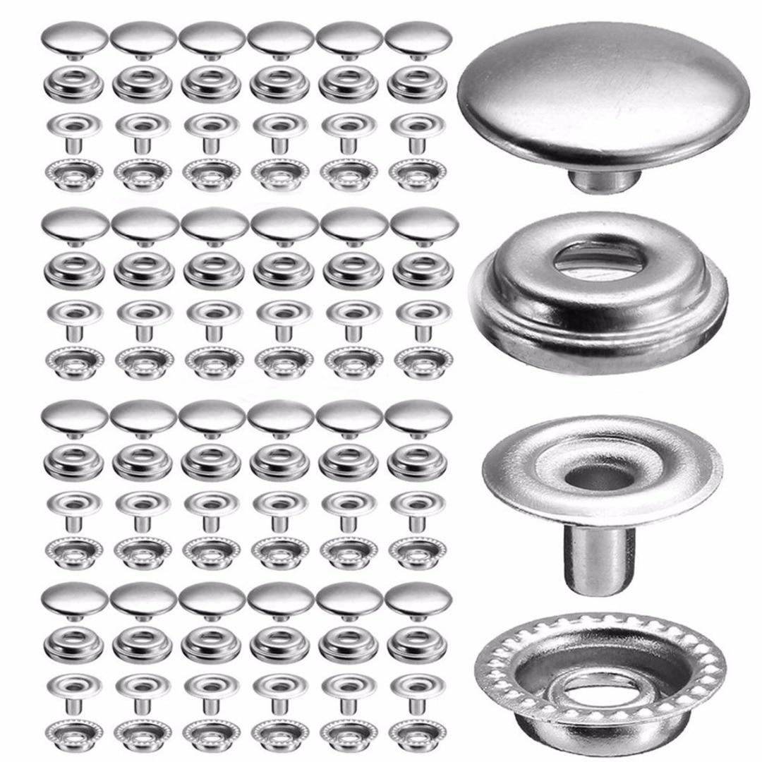 100 pçs 25 conjuntos de aço inoxidável prendedor pressão botão prendedores lona diy fixação imprensa parafusos roupas ferramenta costura