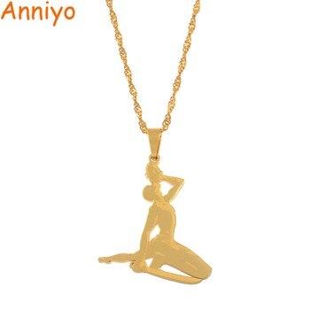 Anniyo Haiti Pendant Necklace for Women Girls Ayiti Items Gold Color Jewelry Gifts of Haiti Accessories  Neg Maron #067221