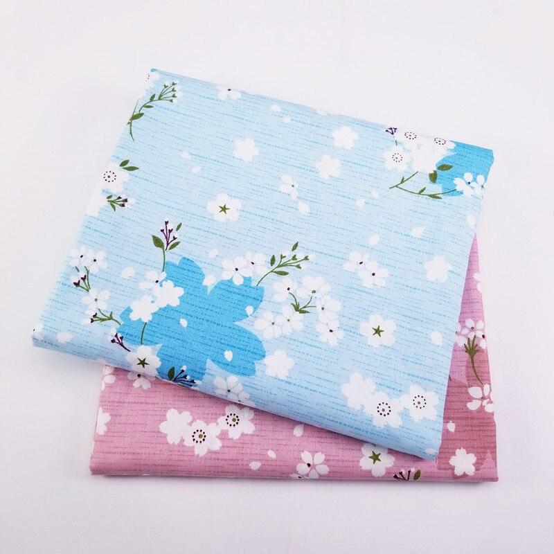 50X40CM tela de algodón estampada con flores tela de sarga para DIY Patchwork acolchado hogar cojines manta Material de costura opcional tamaño