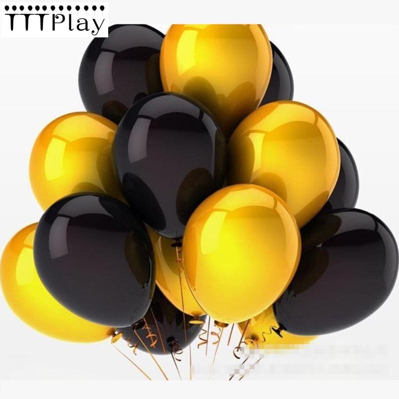 Gold Black Balloons 10PCS 12Inch 2.8g Latex Balloons Inflatable Helium Air Balls Wedding Decoration Happy Birthday Party Balloon