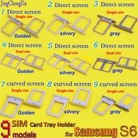 sim card tray slot holder for samsung galaxy s6 s6 edge plus g928 g9250 g925f single dual high quality graygoldensilvery