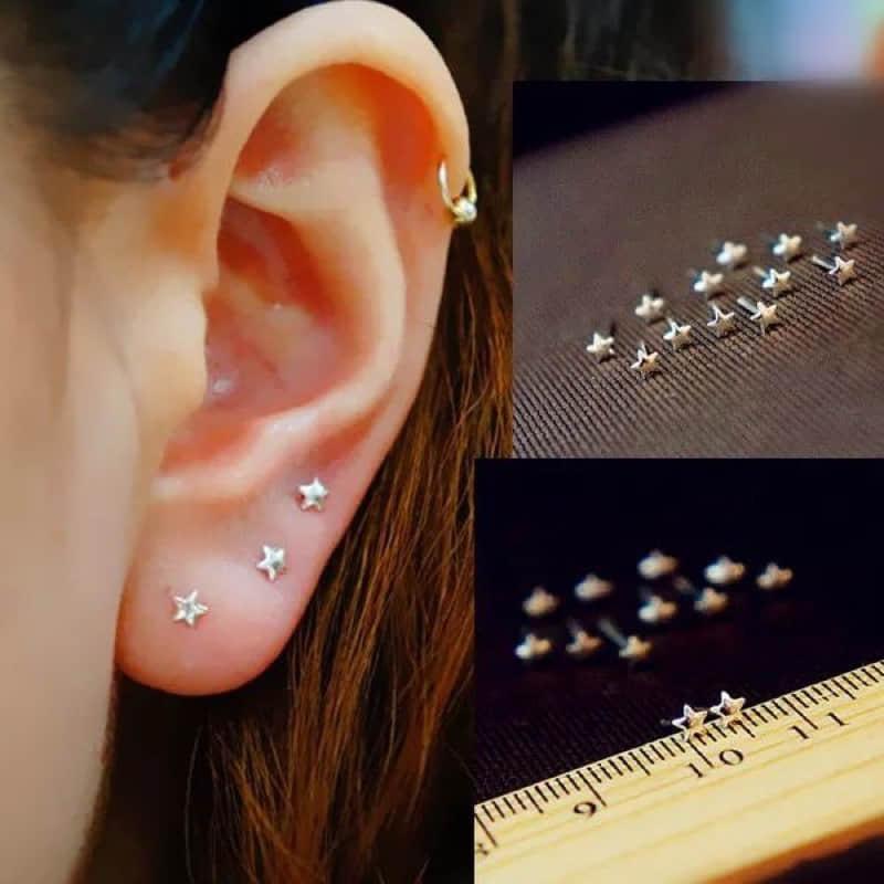 Серьги из стерлингового серебра 925 пробы, золотые маленькие серьги-гвоздики со звездами, луной, любовью, бабочкой и цветком для женщин, ювелирные украшения, Brincos 2020 bijoux
