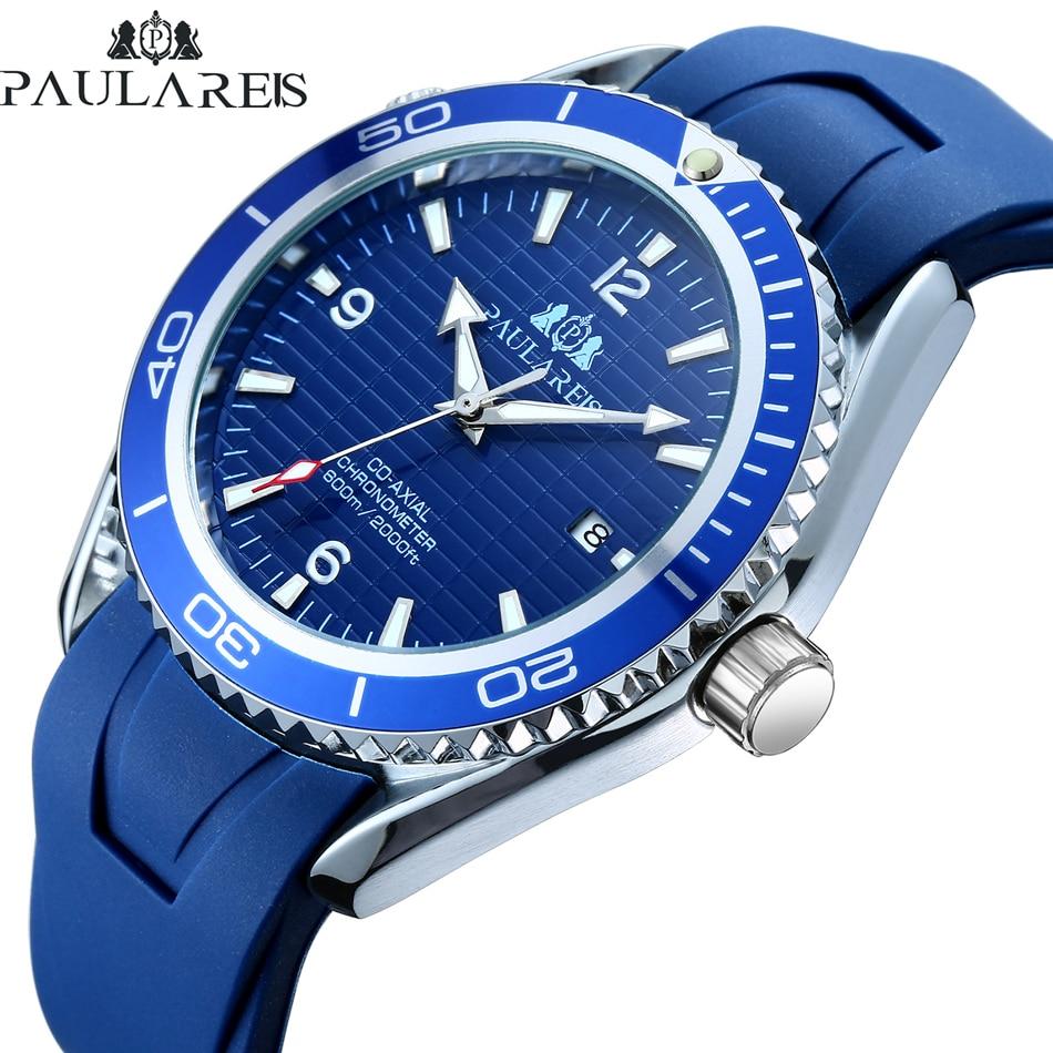 Men Automatic Self Wind Mechanical Orange Blue Black Rubber Strap Bezel Dial James Bond 007 Style Business Calendar Watch