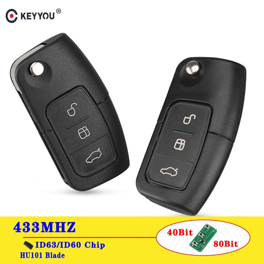 KEYYOU 433MHz 4D63/4D60 Chip Flip Fernbedienung Auto Schlüssel Für Ford Focus 3 2 Mondeo Fiesta Schlüssel fob Fall 3 Taste 80/40 Bit