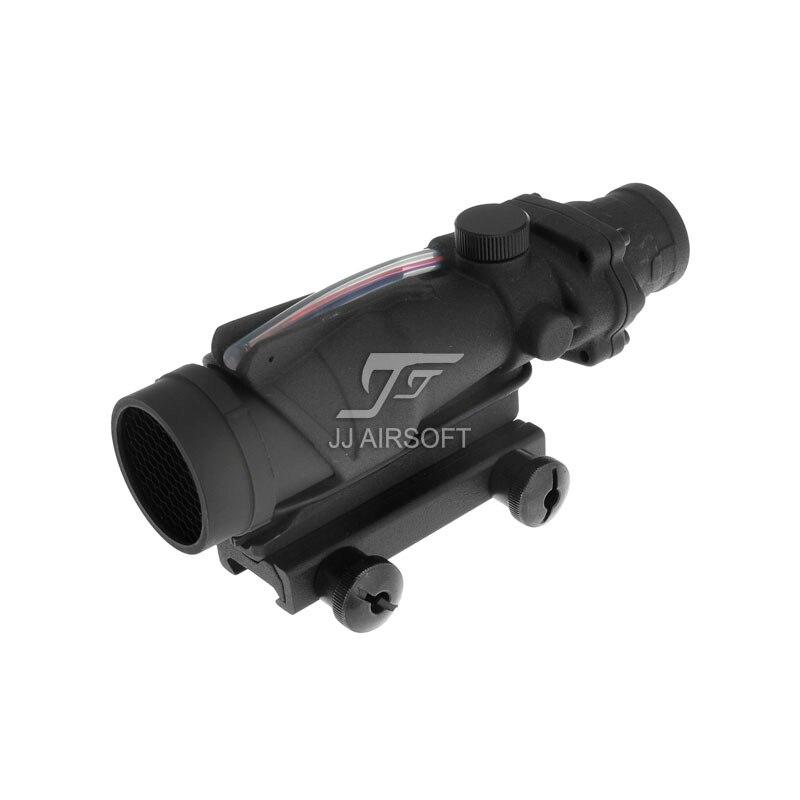 JJ Airsoft ACOG 4x32 TA31 Red Fiber Illuminated Red Crosshair Rifle Scope (Black/Tan) Buy one get one FREE killflash Kill Flash