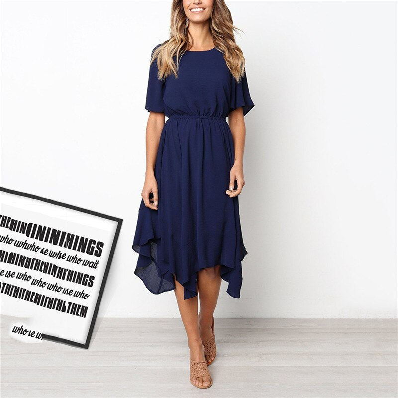 Susi & Rita, Vestido de playa de verano para mujer, vestido asimétrico informal de manga corta, vestido de fiesta para mujer elegante 2019, Vestidos Strand Jurk