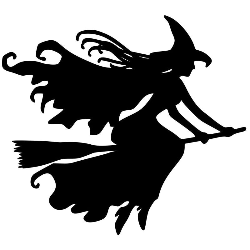 12,8 см * 11,6 см Красивая ведьма на металике Автомобильная наклейка черный/Серебристый Наклейка виниловая Автомобильная Стайлинг S6-4010