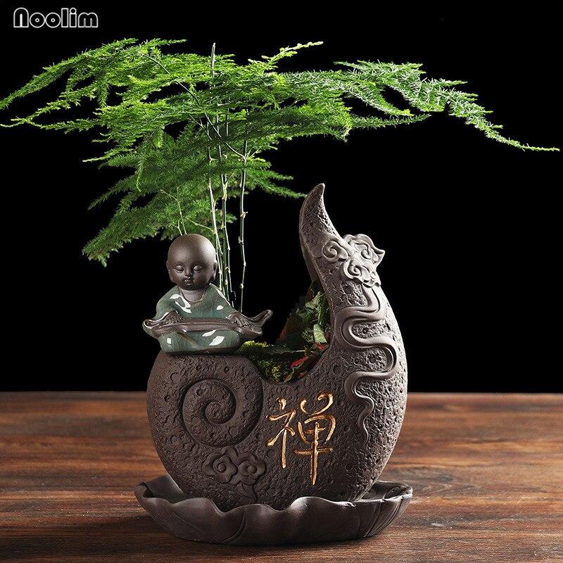NOOLIM pequeño monje negro púrpura arcilla Buddha florero con bandeja personalidad creativa estilo clásico chino maceta suculenta