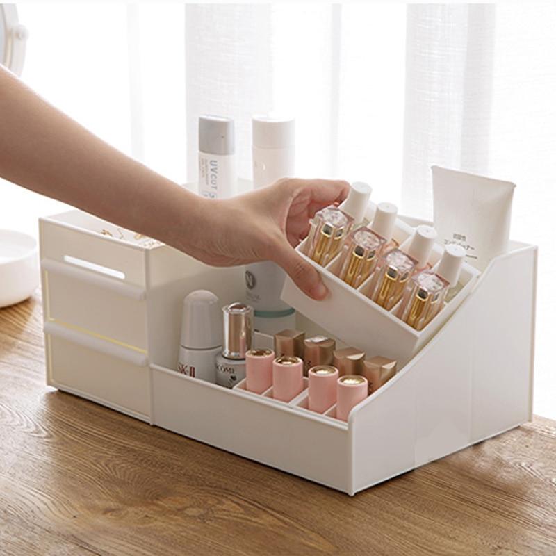 Caja de almacenamiento de organizador de maquillaje de plástico, caja de almacenamiento de joyería, cajones de oficina, caja de maquillaje, cajas de cosméticos, caja de almacenamiento de lápiz labial cosmético