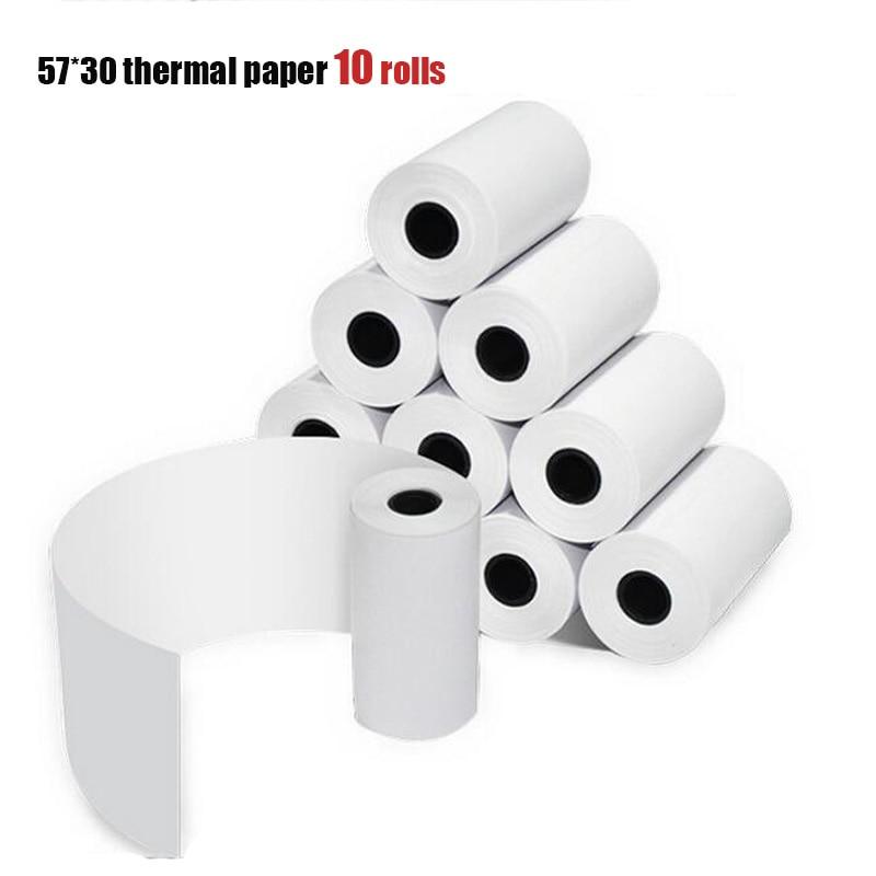CCRALX PAPERANG תרמית הדפסת נייר 57*30 תרמית תווית הדפסת נייר קופה ביל מזומנים הרשמה נייר 10 לחמניות משלוח חינם