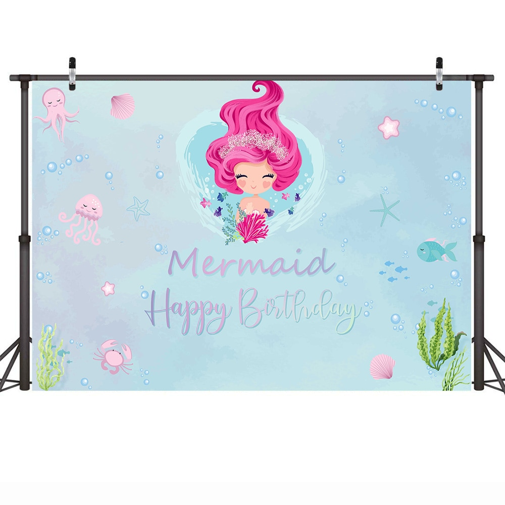 Necback Mermaid Backdrop Happy Birthday Photo Background Party Banner Props Cartoon Backdrop for Photography Underwater enlarge