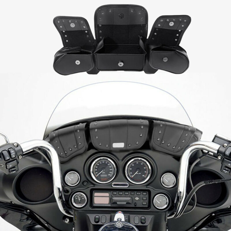Motocicleta parabrisas bolsa de bolsillo 3 para Harley Touring Electra Glide de la calle Glide Trike 1996-2013