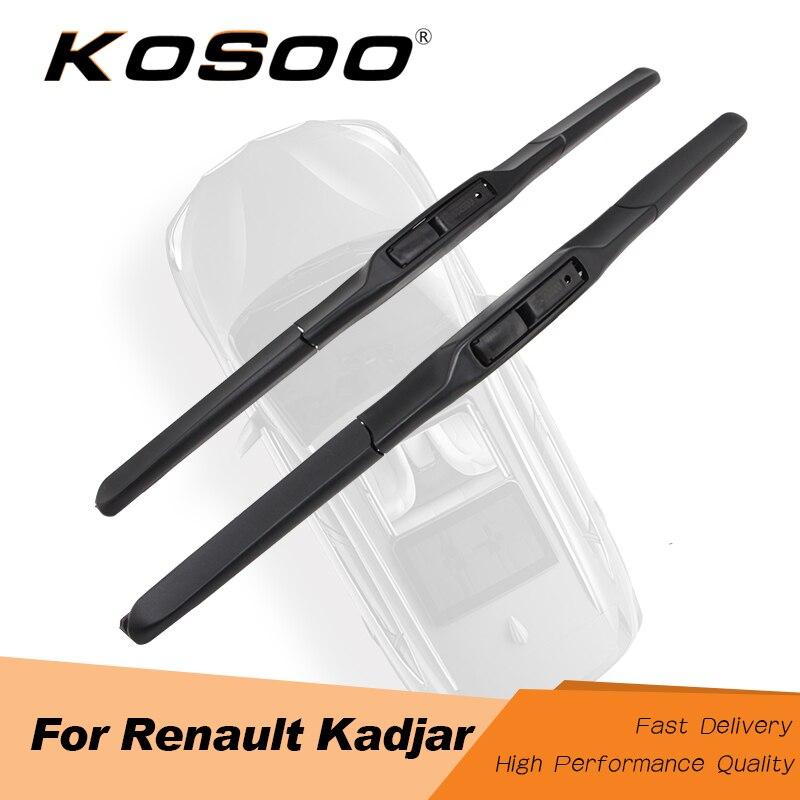 "KOSOO Para Renault Kadjar 26 ""+ 17"", 2015 2016 2017 Fit J Gancho Braço de Auto Acessórios de Borracha Natural Wiper Blades Limpa A Brisa"