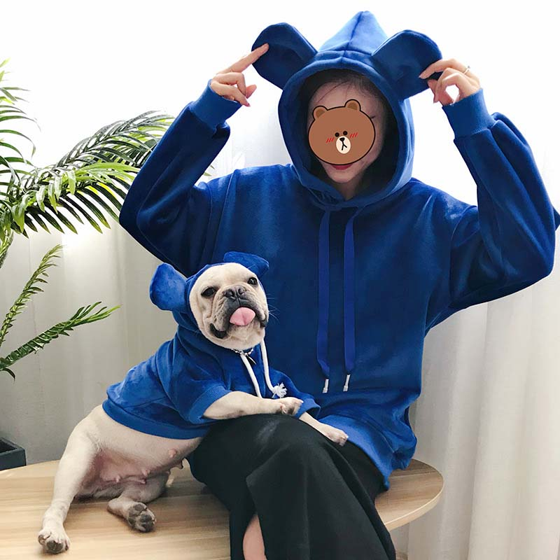 HSWLL ropa para mascotas cachorros ropa para padres e hijos con capucha de doble cara dorada de terciopelo grueso gato perro suéter pequeño perro bulldog francés