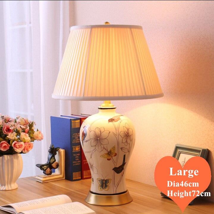 Lámpara de mesa grande de cerámica blanca con flor europea y pájaro, Interruptor táctil, sombra de tela, base de cobre E27, lámpara LED para cabecera y vestíbulo MF073