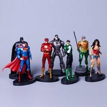 7 pz/set Justice League 14 centimetri Super Eroe Superman Batman Flash Nettuno Wonder Woman Action Figure Giocattoli