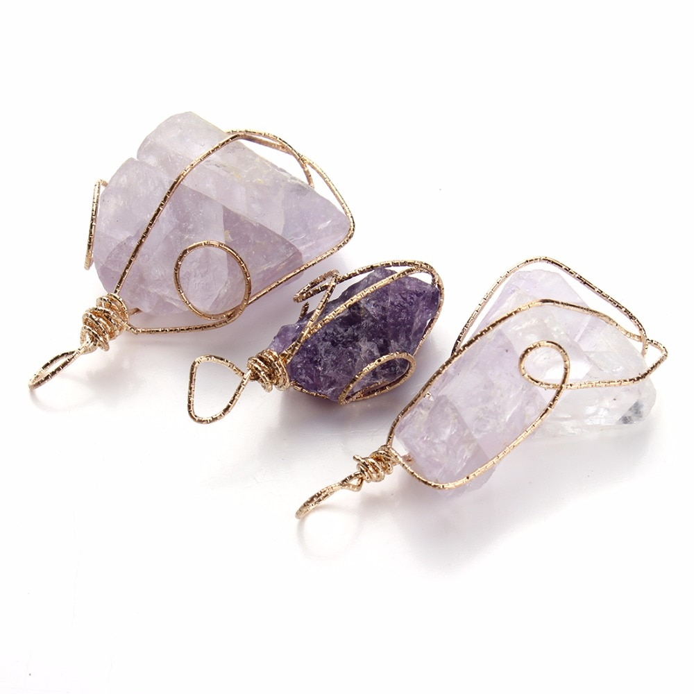 LOULEUR 1 Pc Natürlichen Punkt Stein Anhänger Pendel Lila Healing Kristall Chakra Reiki Perlen Gelegentliche Größe Freies Verschiffen