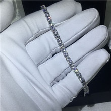 Bracelet de Tennis taille ronde 5A zircon cubique or blanc accessoires de fiançailles bracelets pour femme de mariage